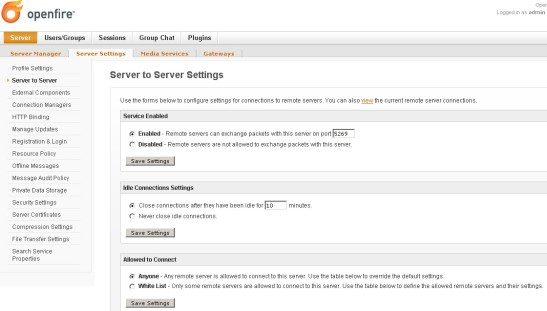 Openfire server UI